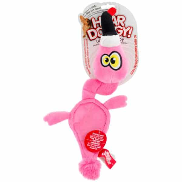Hear Doggy Silent Squeaker Toys Pink Flamingo