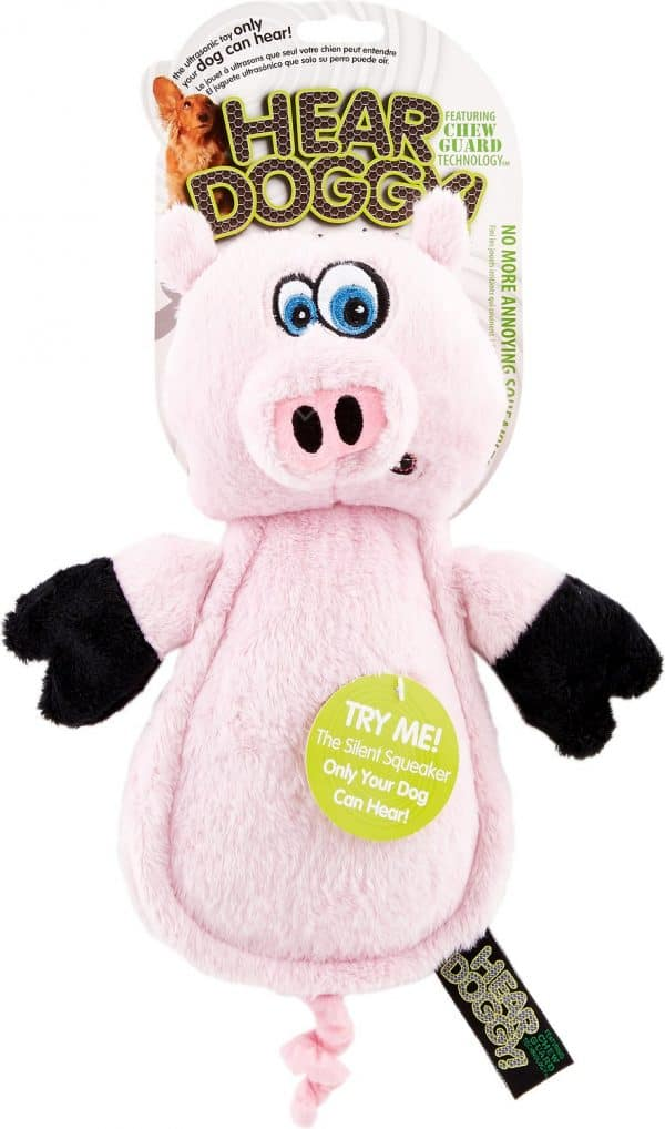 Hear Doggy Silent Squeaker Toy Pink Pig
